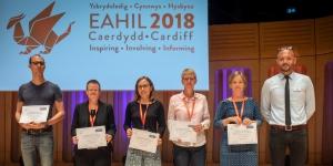 EAHIL-EBSCO Scholarship winners 2018: Thomas Vandendriessche (BE) Jasmin Schmitz (DE), Evamaria Krause (DE), Sabine Klein (CH), Eva Karin Karlsson (SE), Muharrem Yilmaz of EBSCO