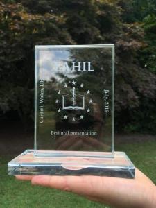 EAHIL prize glass item.
