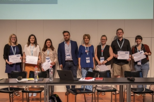 Group photo of EAHIL Scholarship winners 2019 and EBSCO presentative and EAHIL president in Basel.