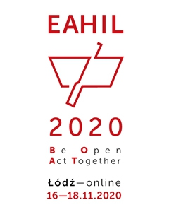 Logo of EAHIL 2020 online. Red on white. Text : EAHIL, drawing: a boat, number: 2020, slogan: Be Open Act Together, text: Lodz - online 16-18.11.2020.